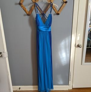 Blue strappy backless prom dress